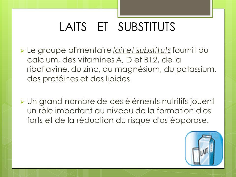 LAITS ET SUBSTITUTS Le groupe alimentaire lait et substituts fournit du calcium, des vitamines A, D et B12, de la riboflavine, du zinc, du magnésium, du potassium, des protéines et des lipides.