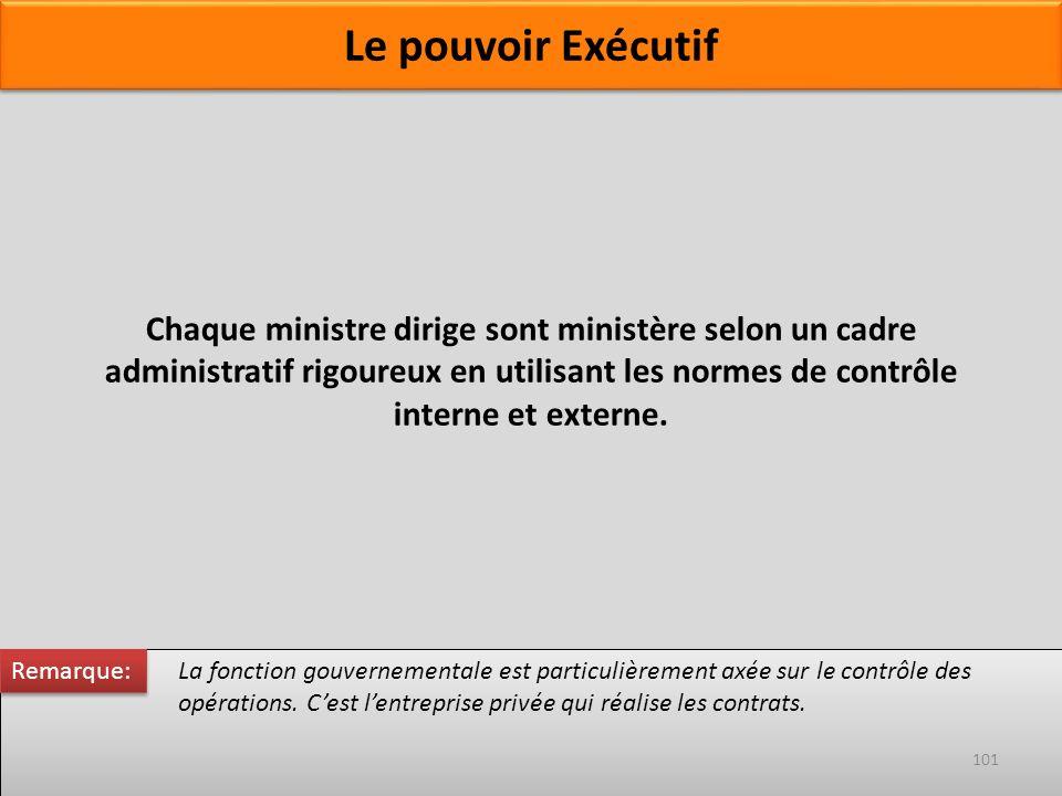 Chaque ministre dirige sont ministère selon un cadre administratif rigoureux en utilisant les normes de contrôle interne et externe. La fonction gouve