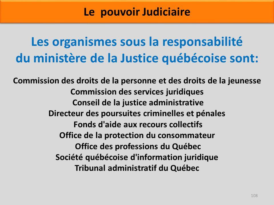 Les organismes sous la responsabilité du ministère de la Justice québécoise sont: Commission des droits de la personne et des droits de la jeunesse Co