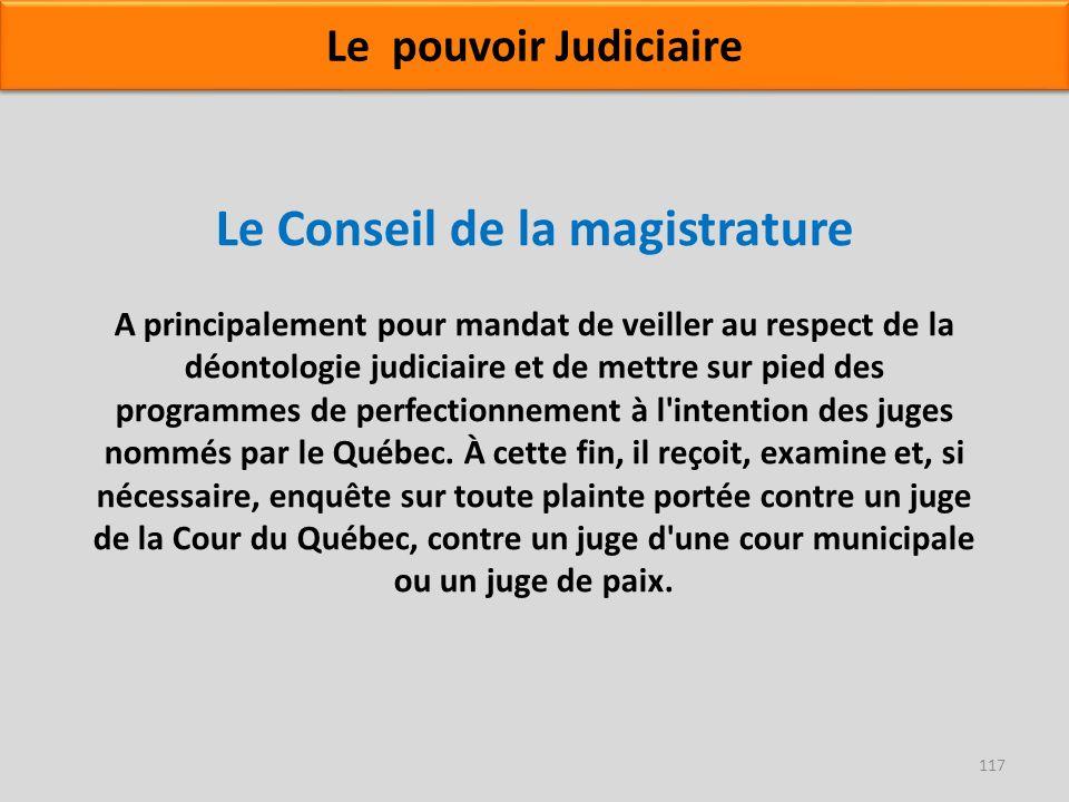Le Conseil de la magistrature A principalement pour mandat de veiller au respect de la déontologie judiciaire et de mettre sur pied des programmes de