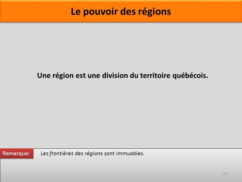 Le pouvoir des régions Les frontières des régions sont immuables. Une région est une division du territoire québécois. Remarque: 121