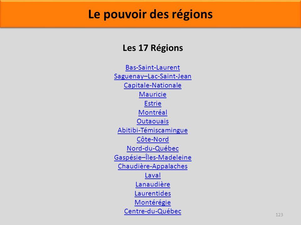 Les 17 Régions Bas-Saint-Laurent Saguenay–Lac-Saint-Jean Capitale-Nationale Mauricie Estrie Montréal Outaouais Abitibi-Témiscamingue Côte-Nord Nord-du