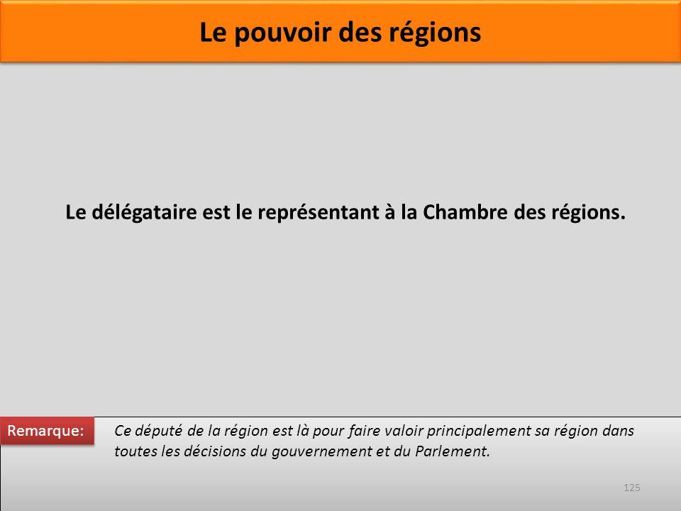 Ce député de la région est là pour faire valoir principalement sa région dans toutes les décisions du gouvernement et du Parlement. Le délégataire est