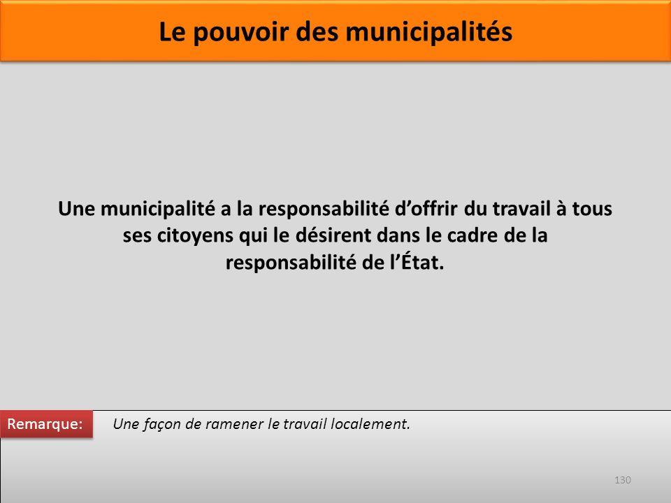 Une façon de ramener le travail localement. Une municipalité a la responsabilité doffrir du travail à tous ses citoyens qui le désirent dans le cadre
