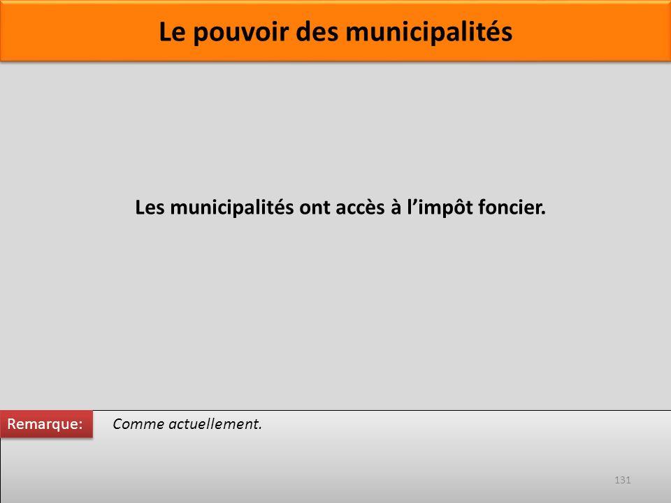 Comme actuellement. Les municipalités ont accès à limpôt foncier. Remarque: 131 Le pouvoir des municipalités