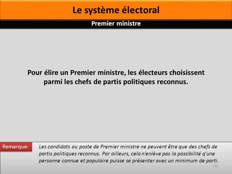 Le système électoral Pour élire un Premier ministre, les électeurs choisissent parmi les chefs de partis politiques reconnus. Les candidats au poste d