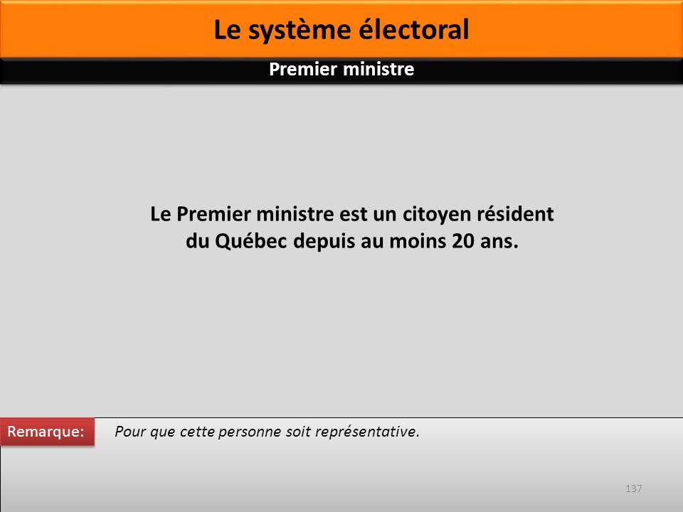 Le Premier ministre est un citoyen résident du Québec depuis au moins 20 ans. Pour que cette personne soit représentative. Remarque: 137 Premier minis