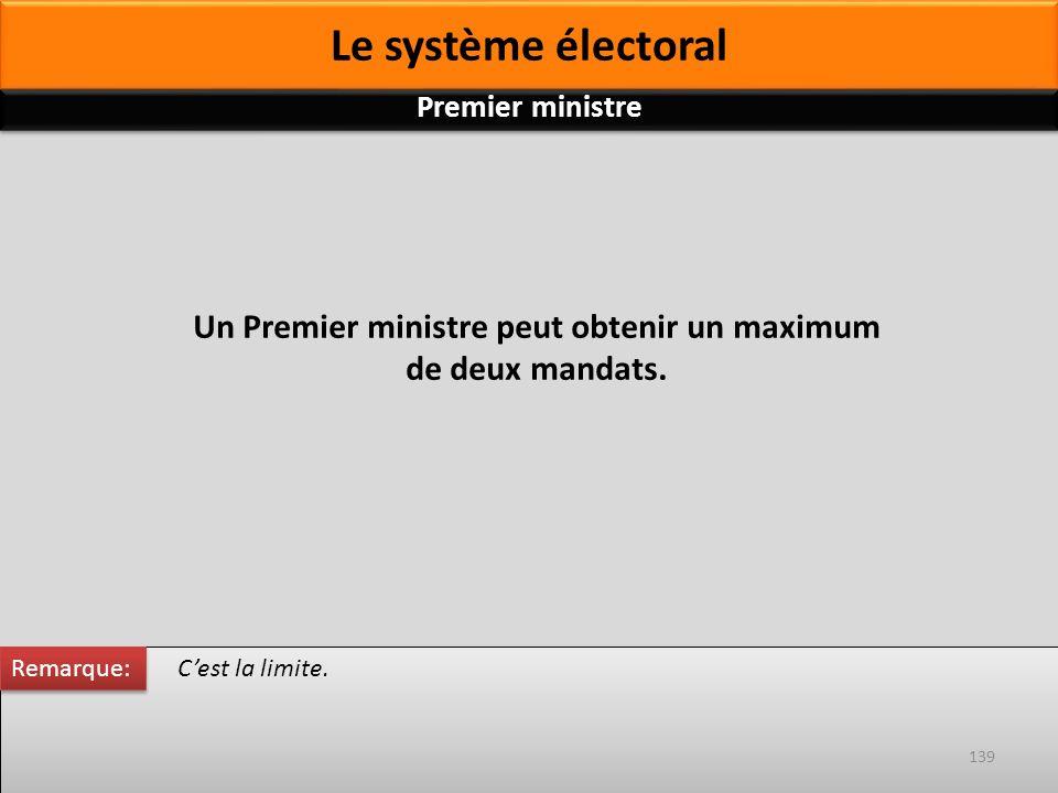 Un Premier ministre peut obtenir un maximum de deux mandats. Cest la limite. Remarque: 139 Premier ministre Le système électoral