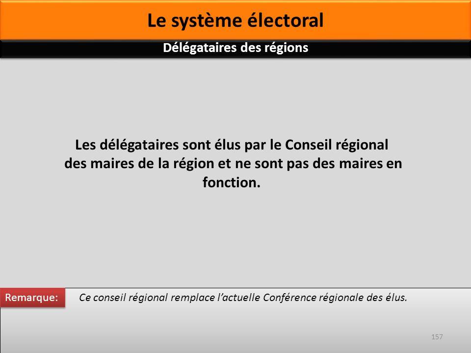 Ce conseil régional remplace lactuelle Conférence régionale des élus. Les délégataires sont élus par le Conseil régional des maires de la région et ne