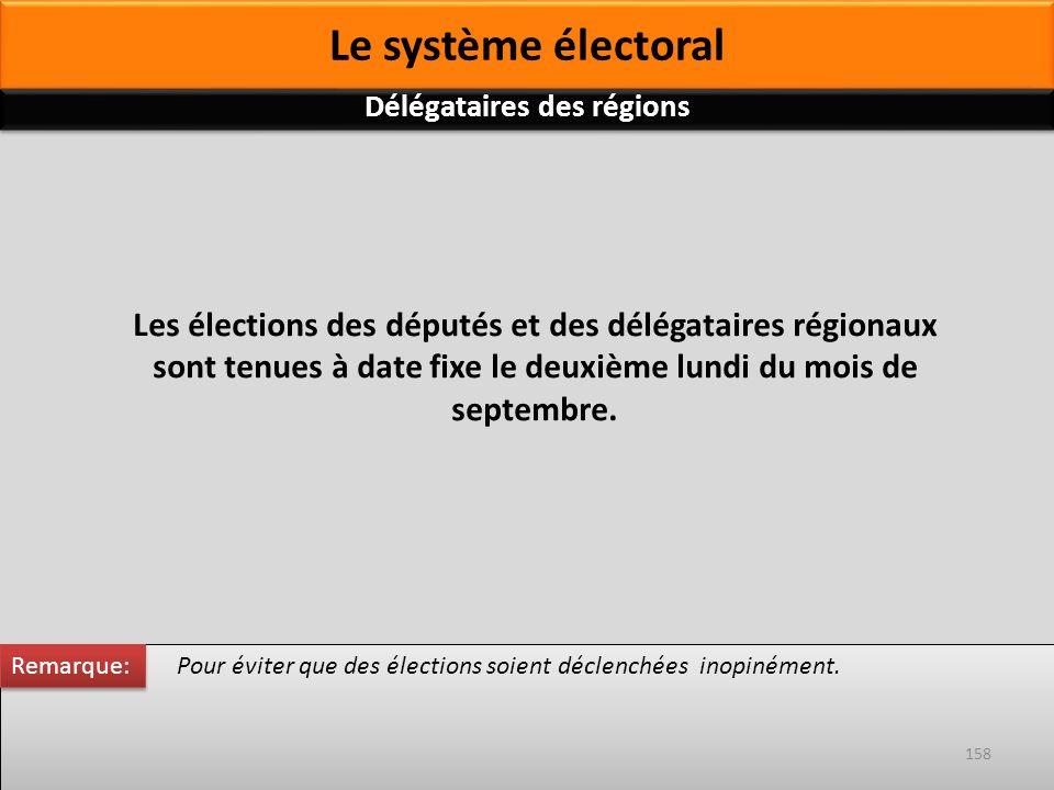Les élections des députés et des délégataires régionaux sont tenues à date fixe le deuxième lundi du mois de septembre. Pour éviter que des élections