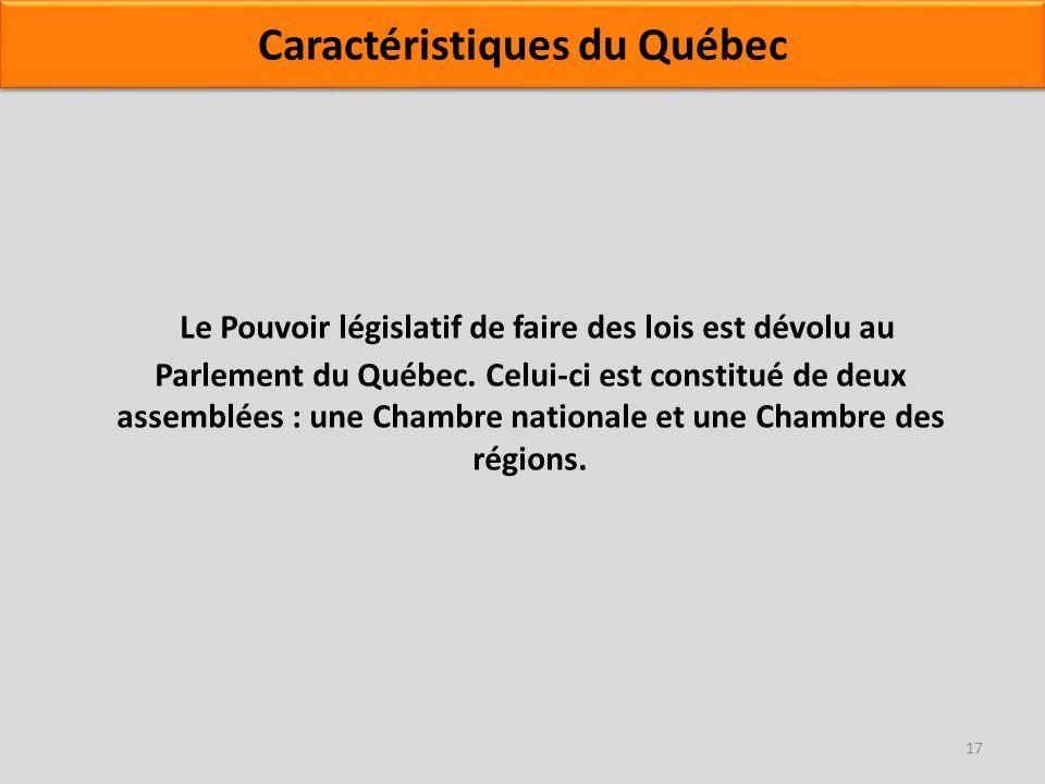 Le Pouvoir législatif de faire des lois est dévolu au Parlement du Québec. Celui-ci est constitué de deux assemblées : une Chambre nationale et une Ch