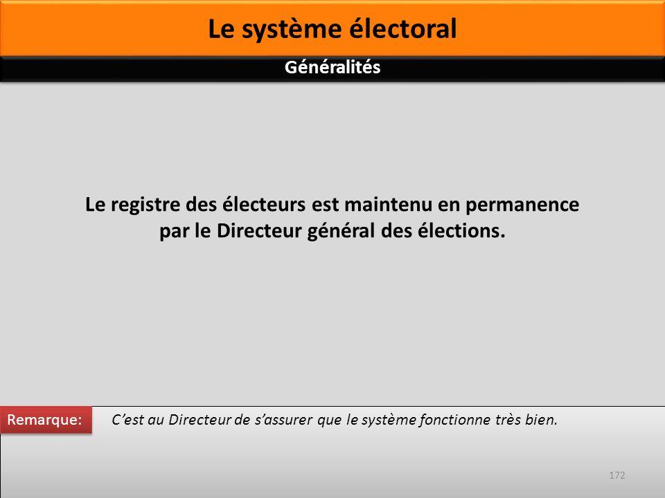 Le registre des électeurs est maintenu en permanence par le Directeur général des élections. Cest au Directeur de sassurer que le système fonctionne t
