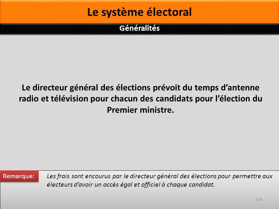 Les frais sont encourus par le directeur général des élections pour permettre aux électeurs davoir un accès égal et officiel à chaque candidat. Le dir