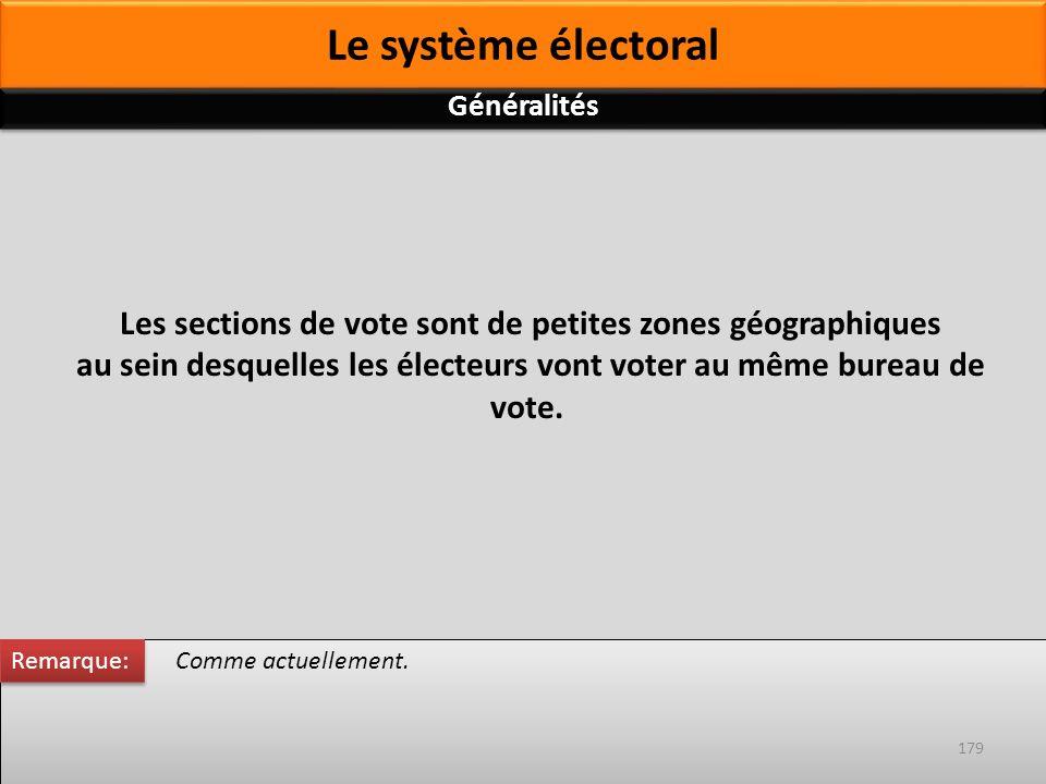 Comme actuellement. Les sections de vote sont de petites zones géographiques au sein desquelles les électeurs vont voter au même bureau de vote. Remar