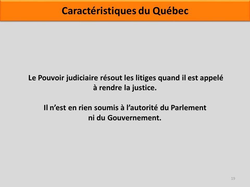 Le Pouvoir judiciaire résout les litiges quand il est appelé à rendre la justice. Il nest en rien soumis à lautorité du Parlement ni du Gouvernement.
