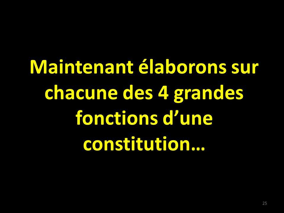 Maintenant élaborons sur chacune des 4 grandes fonctions dune constitution… 25