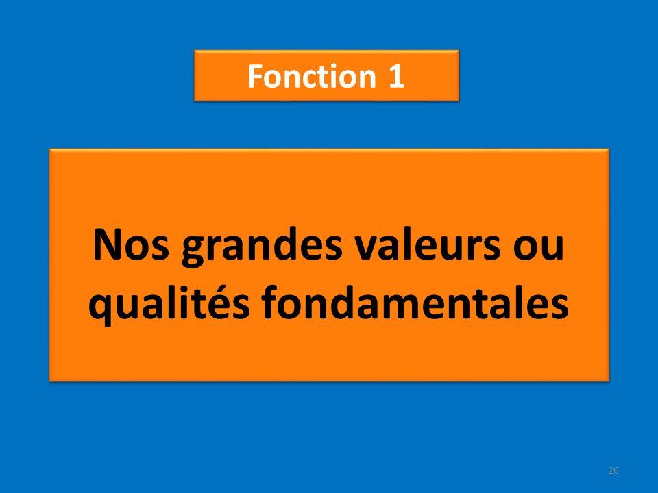 Nos grandes valeurs ou qualités fondamentales Fonction 1 26