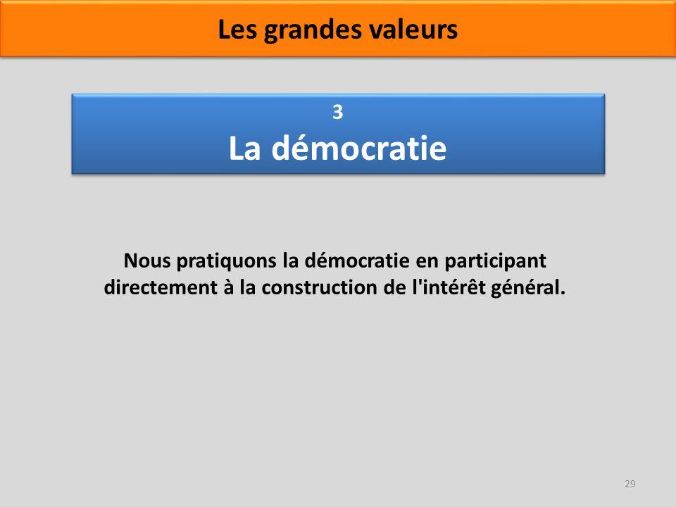 3 La démocratie Nous pratiquons la démocratie en participant directement à la construction de l'intérêt général. 29 Les grandes valeurs