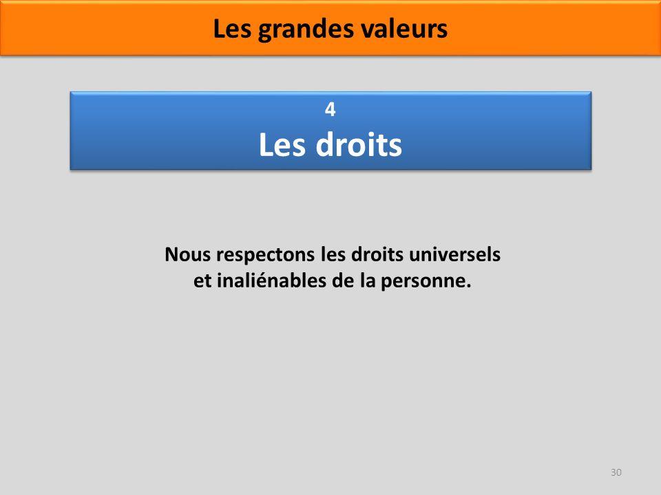 4 Les droits Nous respectons les droits universels et inaliénables de la personne. 30 Les grandes valeurs