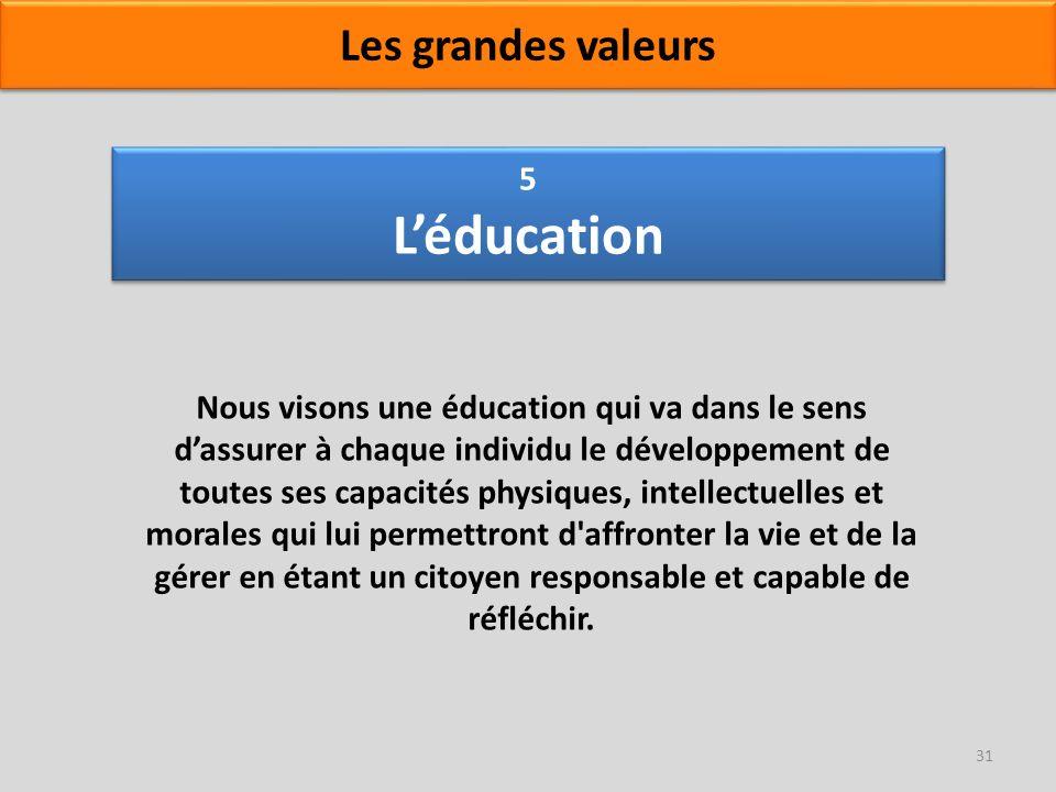 5 Léducation Nous visons une éducation qui va dans le sens dassurer à chaque individu le développement de toutes ses capacités physiques, intellectuel