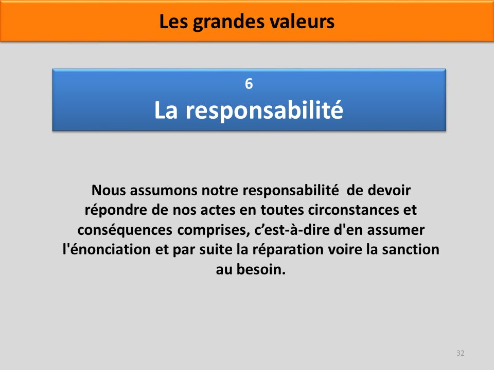 6 La responsabilité Nous assumons notre responsabilité de devoir répondre de nos actes en toutes circonstances et conséquences comprises, cest-à-dire
