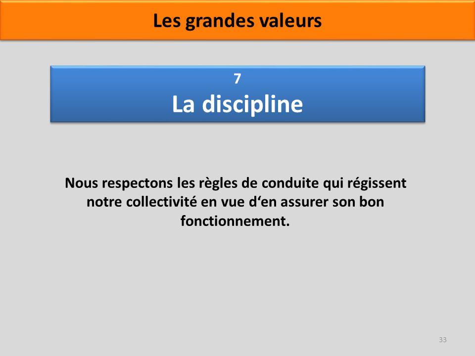 7 La discipline Nous respectons les règles de conduite qui régissent notre collectivité en vue den assurer son bon fonctionnement. 33 Les grandes vale