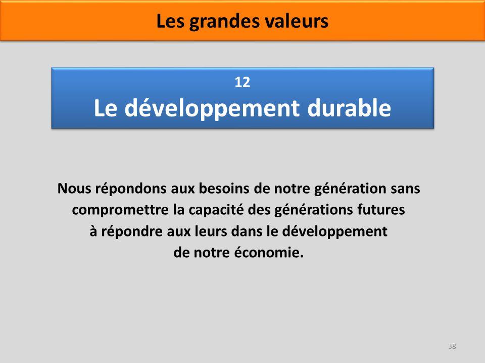 12 Le développement durable Nous répondons aux besoins de notre génération sans compromettre la capacité des générations futures à répondre aux leurs
