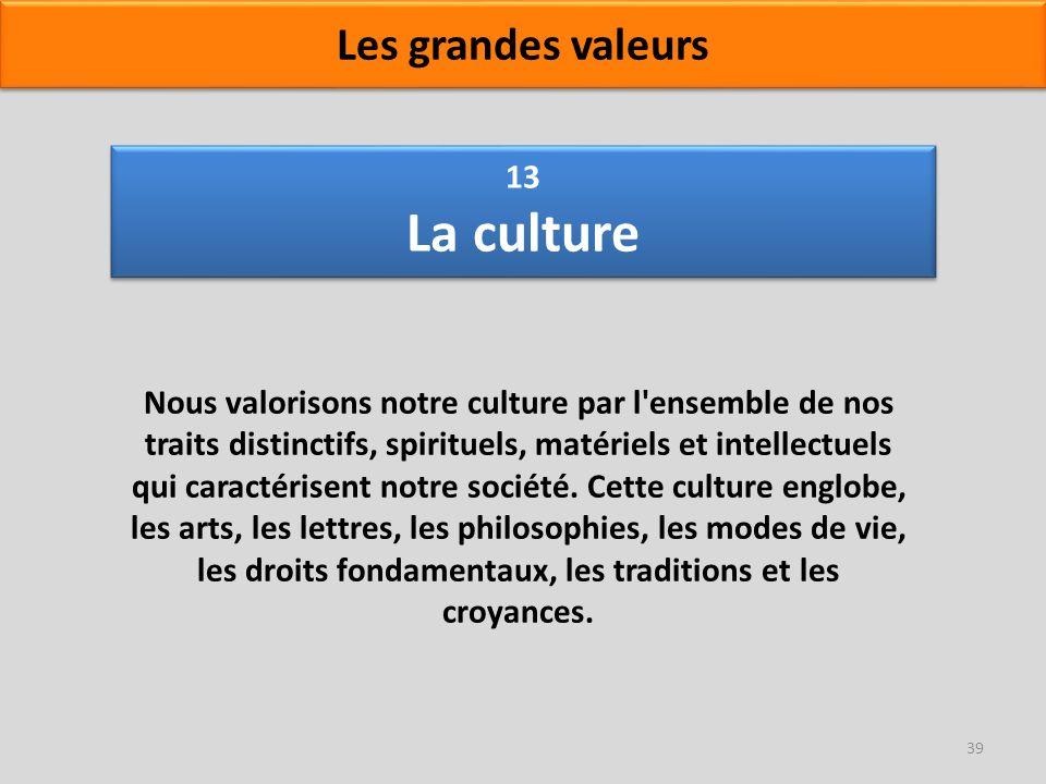 13 La culture Nous valorisons notre culture par l'ensemble de nos traits distinctifs, spirituels, matériels et intellectuels qui caractérisent notre s