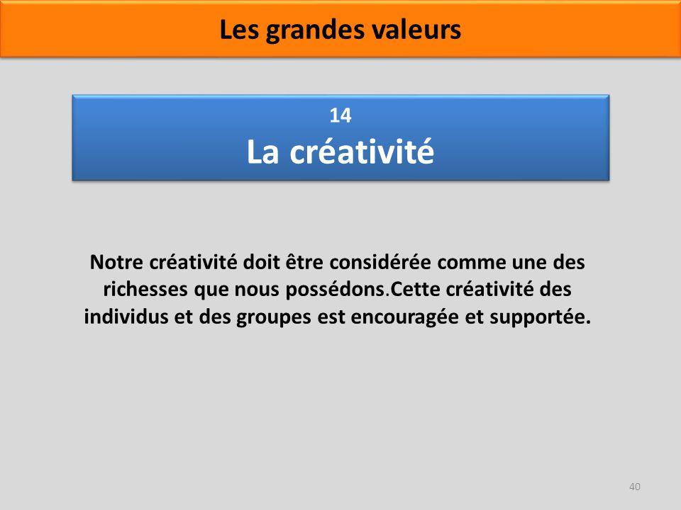 14 La créativité Notre créativité doit être considérée comme une des richesses que nous possédons.Cette créativité des individus et des groupes est en