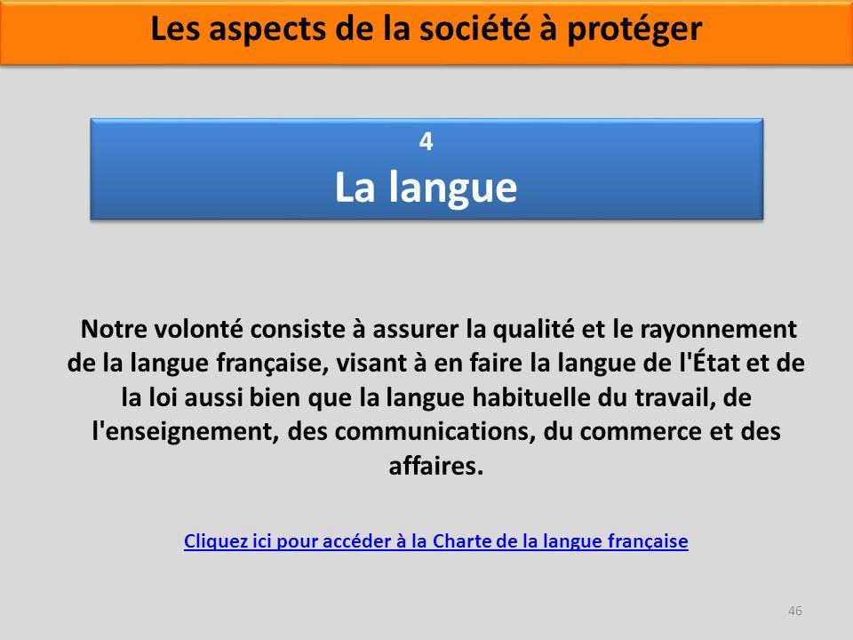 4 La langue Notre volonté consiste à assurer la qualité et le rayonnement de la langue française, visant à en faire la langue de l'État et de la loi a