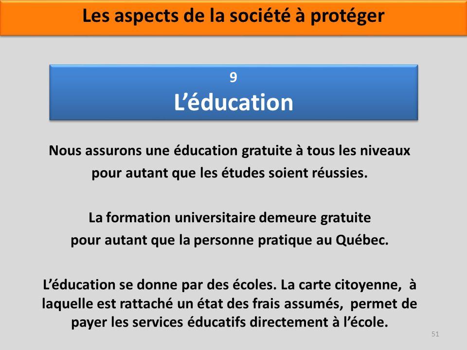 9 Léducation Nous assurons une éducation gratuite à tous les niveaux pour autant que les études soient réussies. La formation universitaire demeure gr