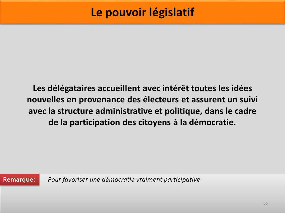 Pour favoriser une démocratie vraiment participative. Les délégataires accueillent avec intérêt toutes les idées nouvelles en provenance des électeurs