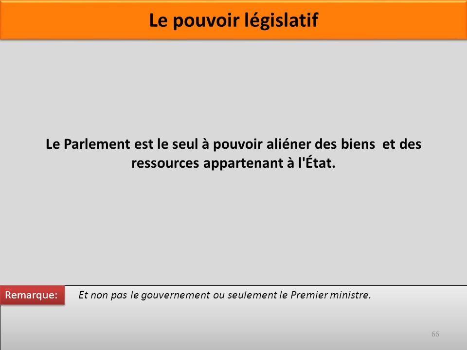 Le Parlement est le seul à pouvoir aliéner des biens et des ressources appartenant à l'État. Et non pas le gouvernement ou seulement le Premier minist