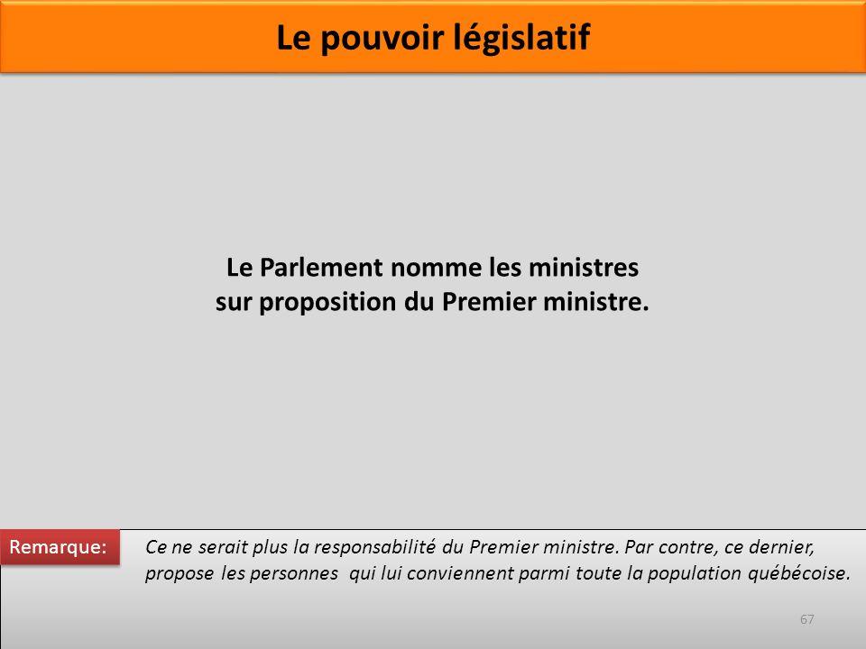Le Parlement nomme les ministres sur proposition du Premier ministre. Ce ne serait plus la responsabilité du Premier ministre. Par contre, ce dernier,