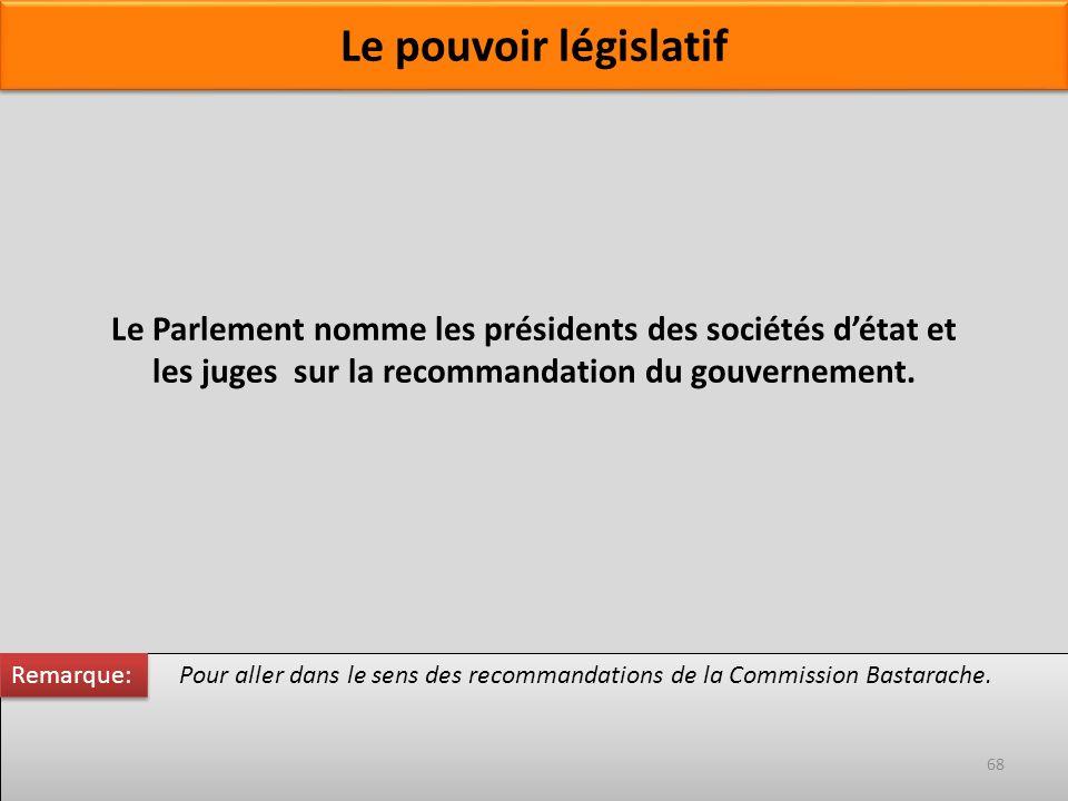 Le Parlement nomme les présidents des sociétés détat et les juges sur la recommandation du gouvernement. Pour aller dans le sens des recommandations d