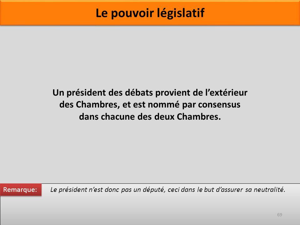 Un président des débats provient de lextérieur des Chambres, et est nommé par consensus dans chacune des deux Chambres. Le président nest donc pas un