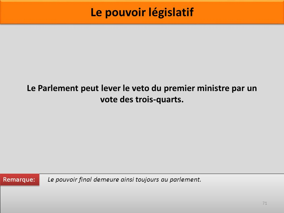 Le Parlement peut lever le veto du premier ministre par un vote des trois-quarts. Le pouvoir final demeure ainsi toujours au parlement. Remarque: 71 L