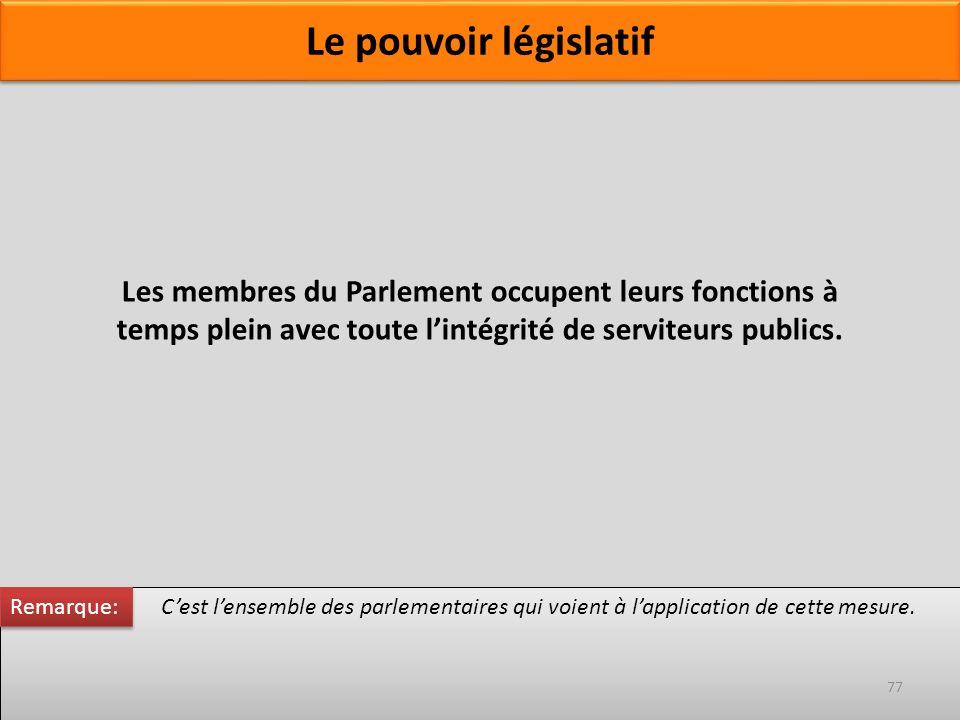 Les membres du Parlement occupent leurs fonctions à temps plein avec toute lintégrité de serviteurs publics. Cest lensemble des parlementaires qui voi