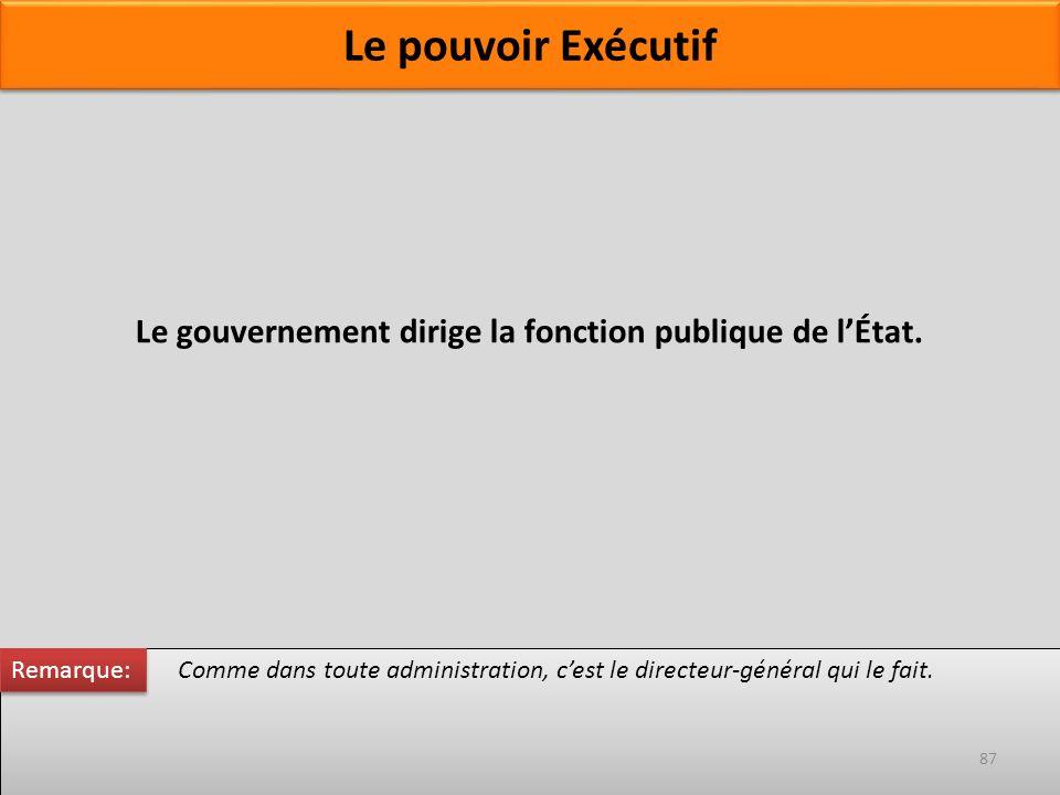Le gouvernement dirige la fonction publique de lÉtat. Comme dans toute administration, cest le directeur-général qui le fait. Remarque: 87 Le pouvoir