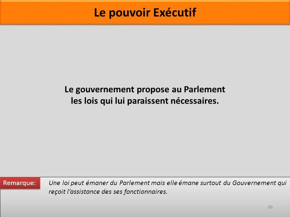 Le gouvernement propose au Parlement les lois qui lui paraissent nécessaires. Une loi peut émaner du Parlement mais elle émane surtout du Gouvernement