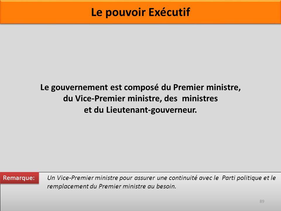 Le gouvernement est composé du Premier ministre, du Vice-Premier ministre, des ministres et du Lieutenant-gouverneur. Un Vice-Premier ministre pour as