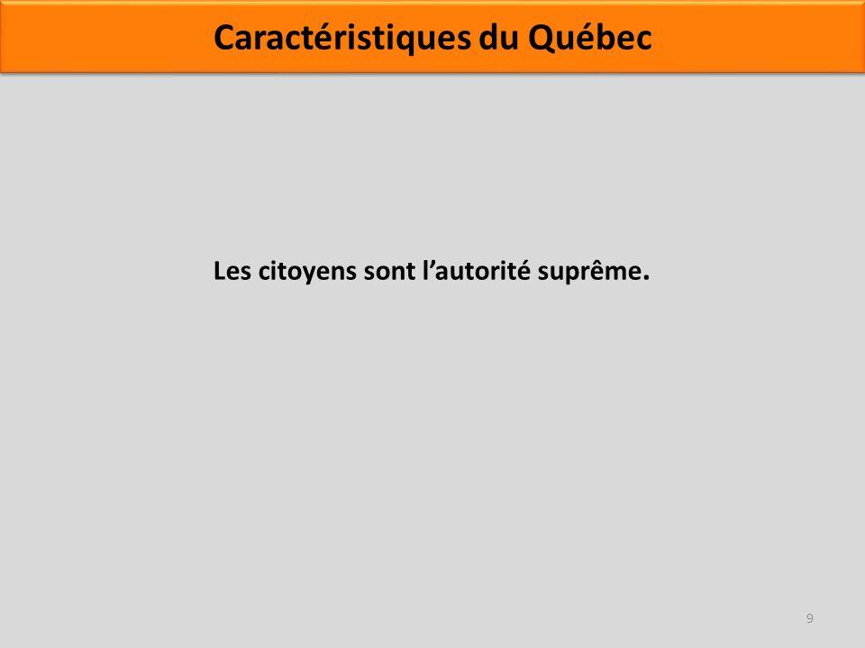 Les citoyens sont lautorité suprême. 9 Caractéristiques du Québec