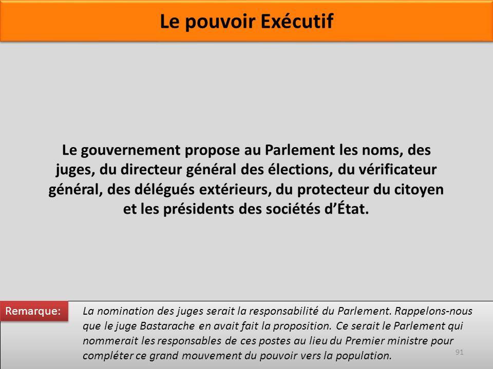 Le gouvernement propose au Parlement les noms, des juges, du directeur général des élections, du vérificateur général, des délégués extérieurs, du pro