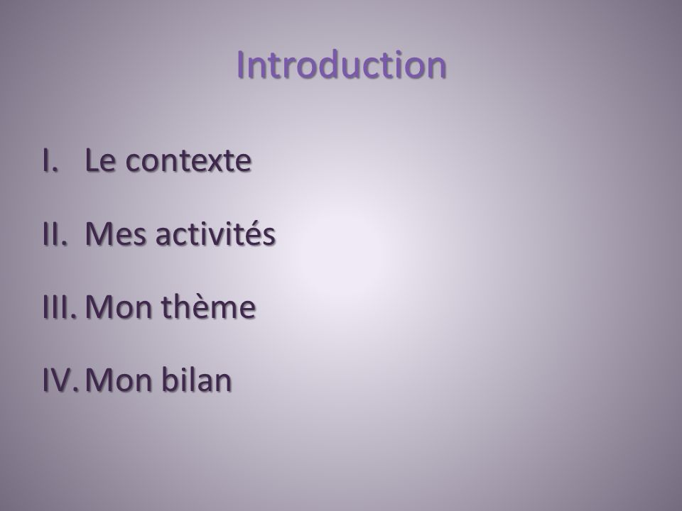 Introduction I.Le contexte II.Mes activités III.Mon thème IV.Mon bilan