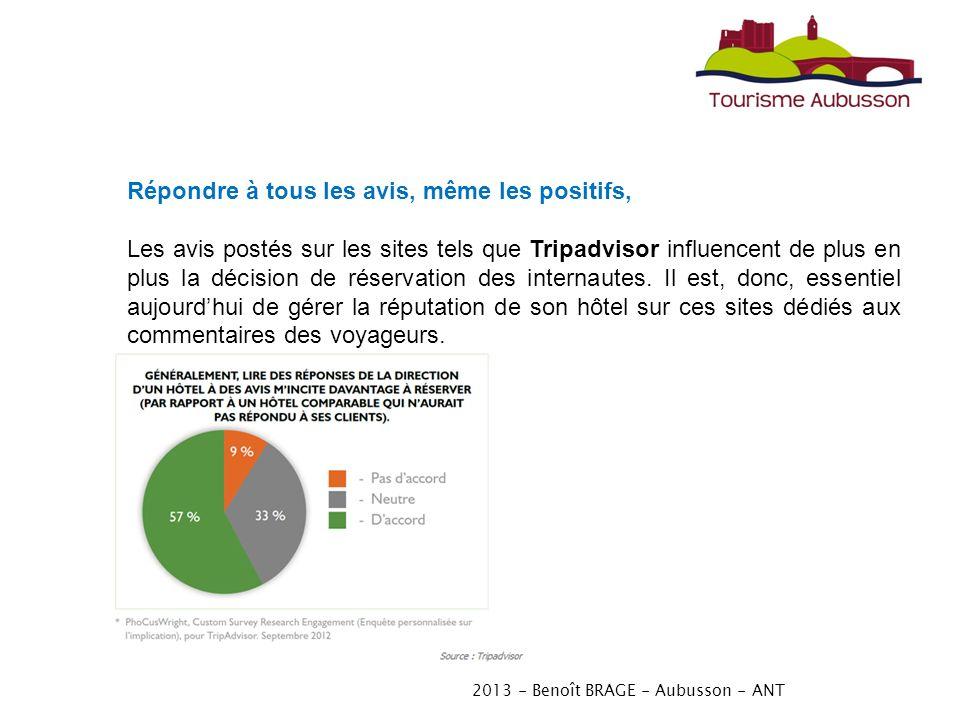2013 - Benoît BRAGE - Aubusson - ANT Répondre à tous les avis, même les positifs, Les avis postés sur les sites tels que Tripadvisor influencent de plus en plus la décision de réservation des internautes.