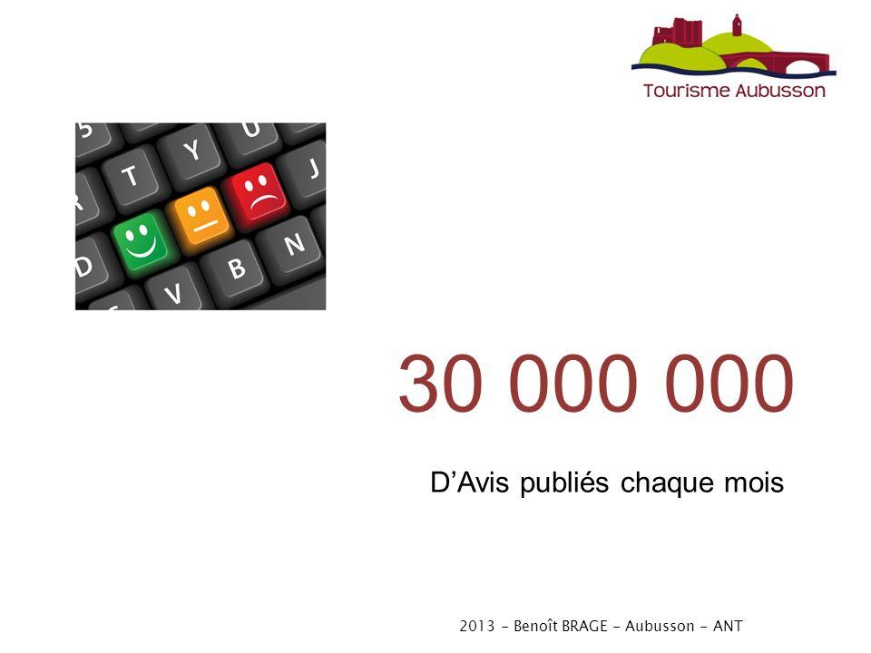 2013 - Benoît BRAGE - Aubusson - ANT 30 000 000 DAvis publiés chaque mois