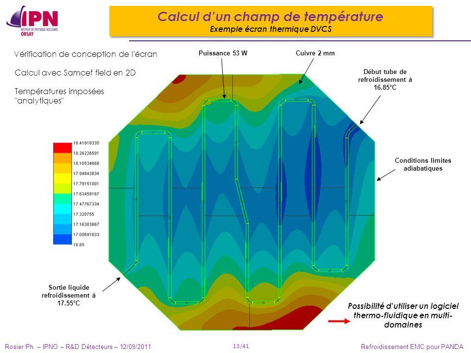 Rosier Ph. – IPNO – R&D Détecteurs – 12/09/2011 13/41 Refroidissement EMC pour PANDA Calcul dun champ de température Exemple écran thermique DVCS Calc