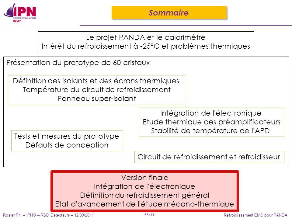 Rosier Ph. – IPNO – R&D Détecteurs – 12/09/2011 36/41 Refroidissement EMC pour PANDA Sommaire Le projet PANDA et le calorimètre Intérêt du refroidisse