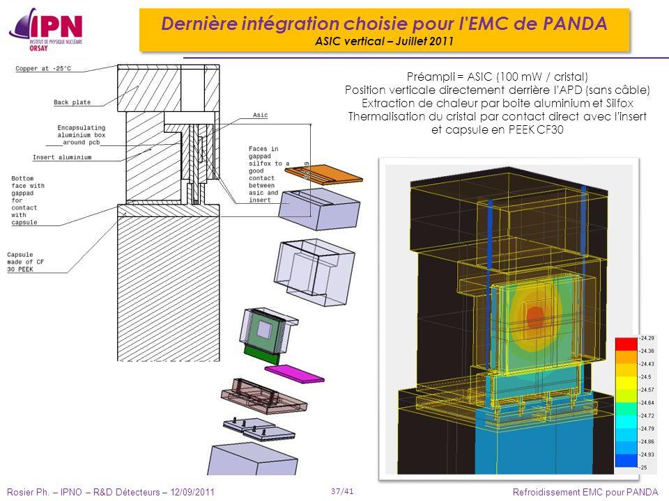 Rosier Ph. – IPNO – R&D Détecteurs – 12/09/2011 37/41 Refroidissement EMC pour PANDA Préampli = ASIC (100 mW / cristal) Position verticale directement