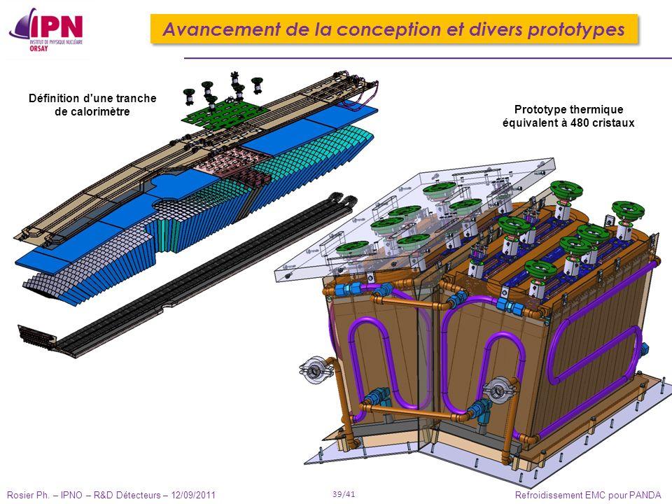 Rosier Ph. – IPNO – R&D Détecteurs – 12/09/2011 39/41 Refroidissement EMC pour PANDA Définition d'une tranche de calorimètre Prototype thermique équiv